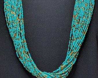 Stunning Turquoise & Bronze Statement Necklace