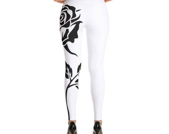 Leggings with left leg rose