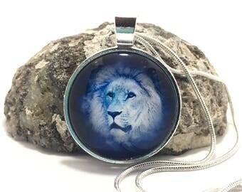 Lion Pendant, Lion Necklace, Blue Lion, Glass Lion Pendant, Silver Necklace, Silver Pendant, Birthday Gift,