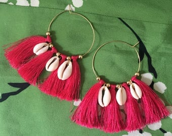 NOW ! Sea Shell Gold Hoop Pink Tassel Earrings Summer Blogger Fashion Jewelry US Handmade