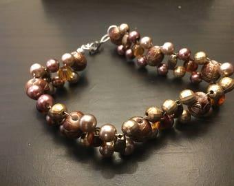 Woven brown beaded bracelet