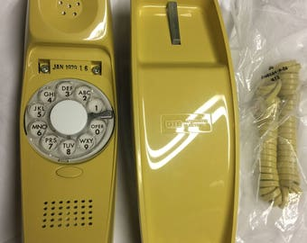 Vintage 1979 Rare GTE STARLITE Brite Yellow Rotary Dial Desk Telephone NOS/Unused