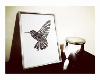 Hand Drawn Zentangle Hummingbird