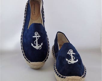 Espadrilles of suede with anchor motif