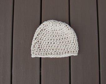 Cream Crocheted Beanie