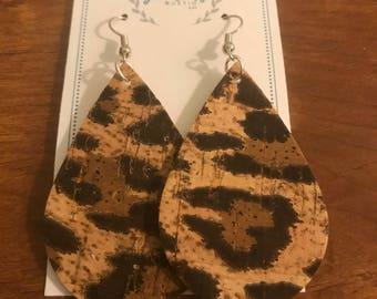 Leopard Cork Teardrop Earrings