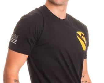 1st Cavalry Division & Sleeve Flag | U.S. Military Army Veteran First Team Shirt