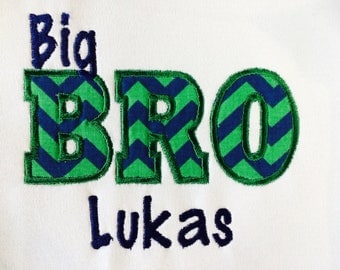 Personalized Big, Little Brother, Sister, Cousin   Embroidered and Applique Shirt