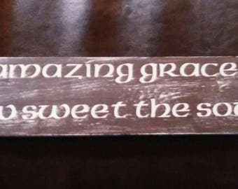 Rustic Amazing Grace Sign