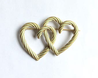 Brush Gold and Aqua Two of Hearts Pin