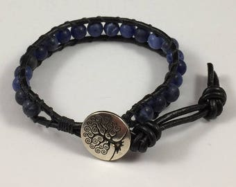 Leather Wrap Bracelet with Sodalite Beads