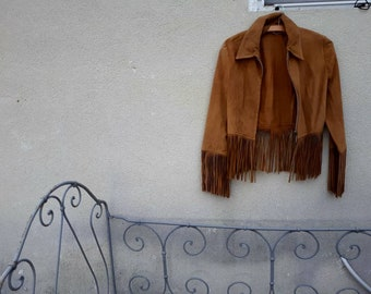 Vintage suede jacket fringed 1970s hippie Bohemian cowboy.