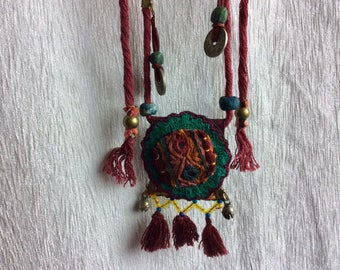 Boho style necklace handmade leather and single piece embroidered fabric