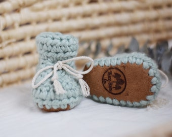 Seafoam Merino Wool Booties With Leather Sole