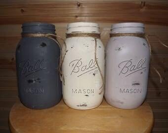 Painted Mason Jars 3 Quart-Sized Chalk Acrylic Decoration/ Storage