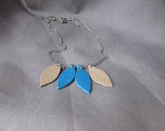 Leather Necklace blue and clay