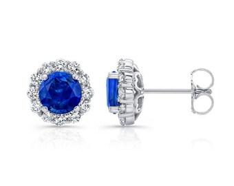 0.50ctw Blue Sapphire and Diamond Halo Studs, 14K, 18K, Platinum, Sapphires, Diamond Stud Earrings, Diamond Earrings, Gold Earrings, Barkevs