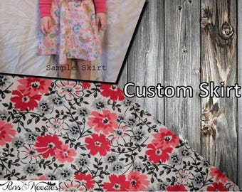 Hand-Made Red and Black Floral Skirt