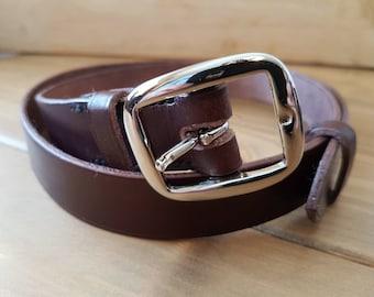 1 inch 'conker' leather belt