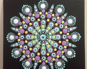 Mandala #A002  6X6 Thin Hand Painted  Mandala Canvas Dot Art