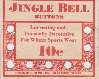 Vintage button card for Jingle Bell Buttons by Carroll Mfg. Co.