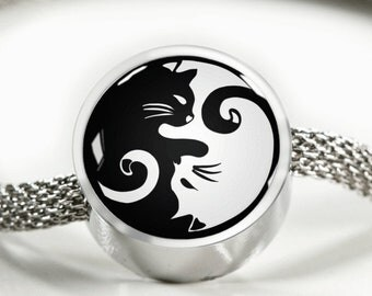 Cat Yin Yang Women's Charm Bracelet Silver Cat Lady Kitty Lover Gift Black and White Cat