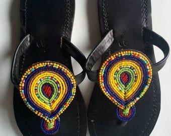 African sandal, Beaded Sandal,Masai sandal, leather sandal,gift for her,women sandal,hand made sandal.