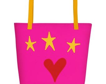 Red Heart and Stars Hot Pink Beach Bag