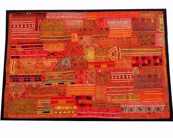 One Of Kind Vintage Banjara Patchwork Wall Hanging Throw Ethnic Home Decor ,Bohemian Hand Embroidered Patchwork gypsy wall Hangings