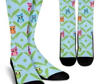 Owl Socks 6, Custom Printed Socks, Novelty Socks, Cute Socks, Cool Socks, Funny Socks, Fun Socks, Unique Socks