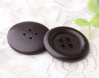 4 hole wooden buttons natural wood buttons 10pcs 32mm round buttons dark brown wood buttons smooth wooden buttons