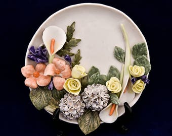 Ceramic Flower Plate Decoration with stand