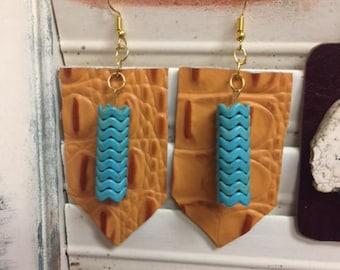 Brown Alligator Earrings