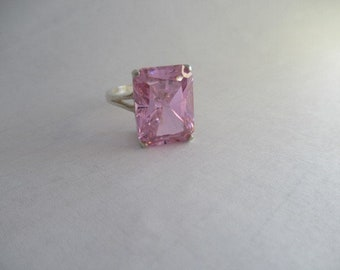 "Pink Cubic Zirconia ""Pink Ice"" Ring"