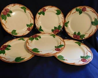 VINTAGE Franciscan California USA Apple Dinner Plates 7 + holder 1949-53 Mark