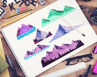 Mountains Set Marker Collection