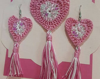 Crocheted Beaded Heart Necklace and Earring Set