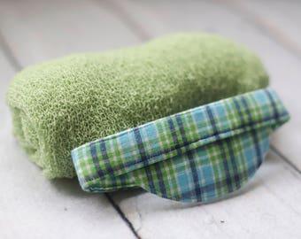 Green Newborn wrap set, photo prop, newborn hat, stretchy knit wrap, newborn visor