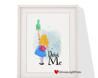 Disney Alice in wonderland art print Instant Download