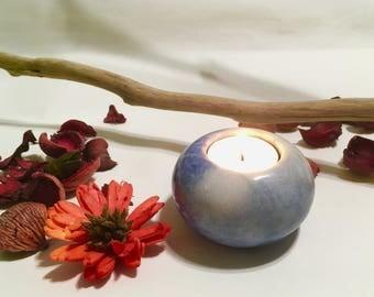 Elegant Blue Marble Candle