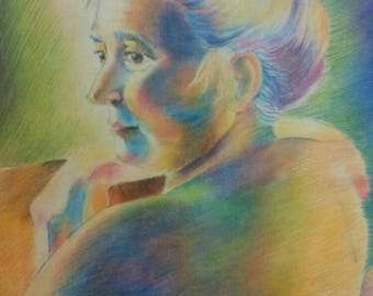Portrait on commission with crayons.