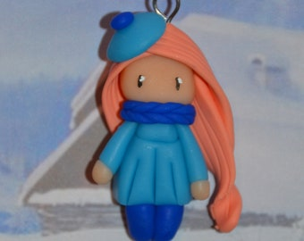 Baby blue dress, hair salmon - winter Collection - jewelry polymer clay handmade