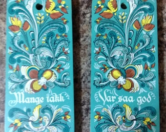 2 Swedish Berggren Trayner Hand Painted Cheese Bread Cutting Boards Plaques 1962