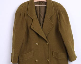 Cashmere Wool Womens 16 XL Jacket Raglan Sleeve Pistachio Double Breasted Vintage