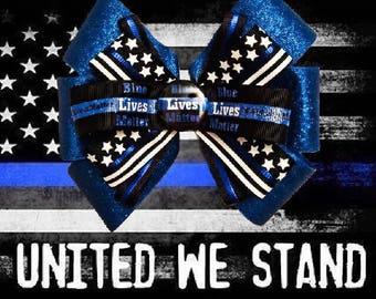 Blue Lives Matter Sparkle Back the Blue Police Hair Bow