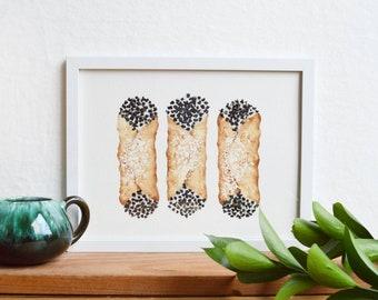 "Cannoli giclee/Traditional Italian dessert print/Food art/Kitchen decor/Dessert watercolor/Modern art/8.5""x11"" watercolor print"