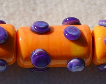 Funky Dotted Artisan Lamp Work Beads- Lot 7