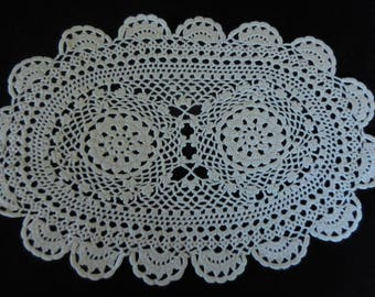 Vintage Handmade Crocheted Doily Oval Shape/White