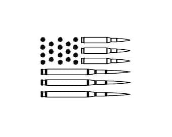 bullet flag vinyl decal