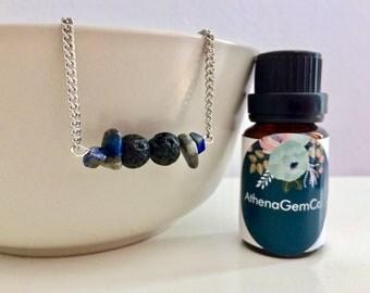 Lava Stone Necklace - Lapis Lazuli Necklace - Diffuser Necklace - Aromatherapy Necklace - Essential Oil Necklace